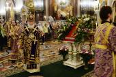 """Slujirea Patriarhului în ajunul Duminicii Închinării Sfintei Cruci la catedrala """"Hristos Mântuitorul"""""""
