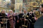 В день памяти святителя Феогноста председатель Синодального отдела по монастырям и монашеству совершил Литургию в Успенском соборе Московского Кремля