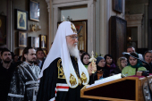 Патриаршее служение в канун Великого Вторника в Алексеевском монастыре г. Москвы