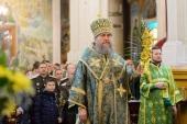 Митрополит Астанайский Александр в праздник Входа Господня в Иерусалим совершил Литургию в Вознесенском кафедральном соборе Алма-Аты