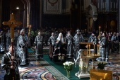 В Великую Среду Предстоятель Русской Церкви совершил Литургию в Храме Христа Спасителя в Москве