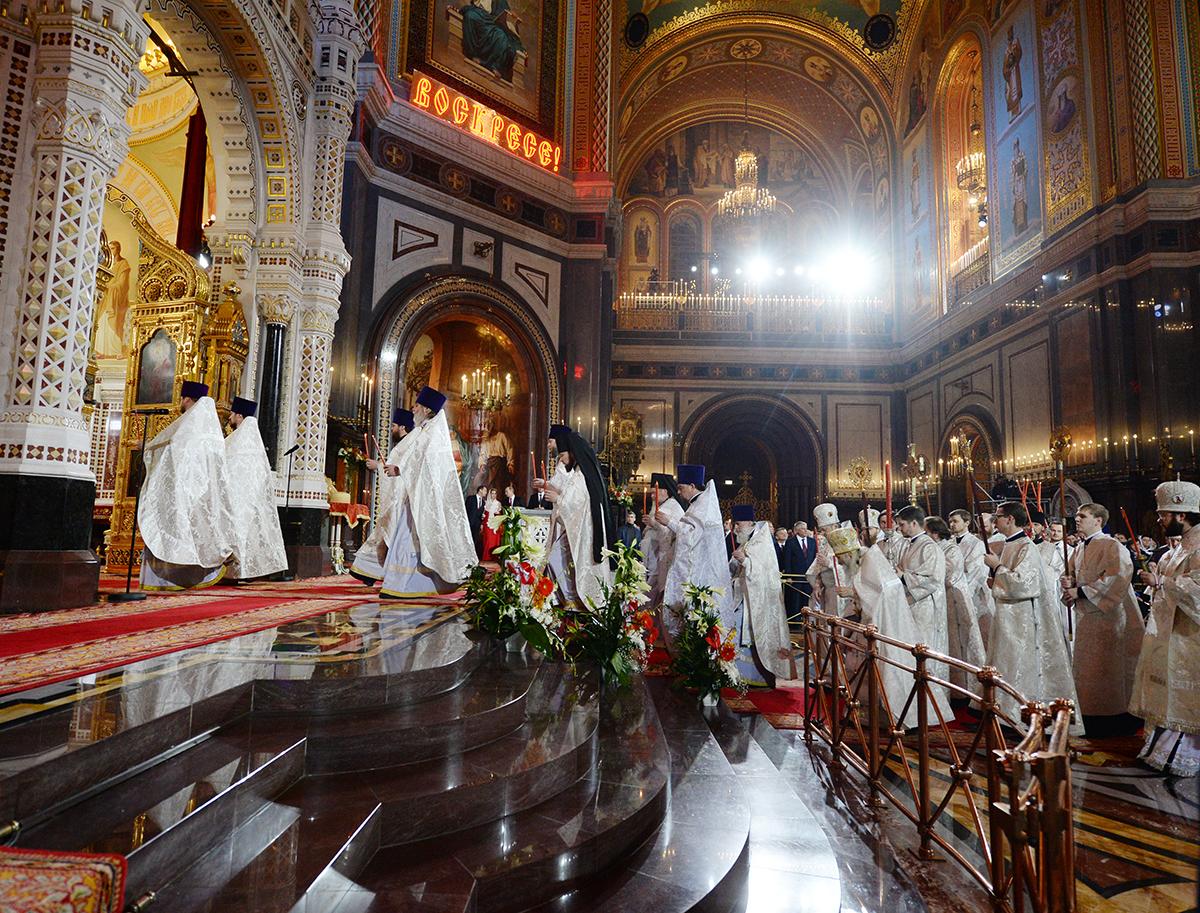 Патриаршее служение в праздник Пасхи Христовой в Храме Христа Спасителя