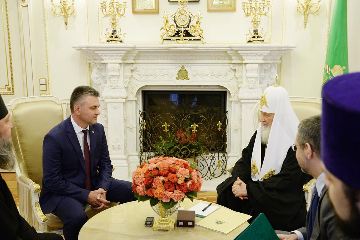 Встреча Святейшего Патриарха Кирилла с Президентом Приднестровской Молдавской Республики В.Н. Красносельским