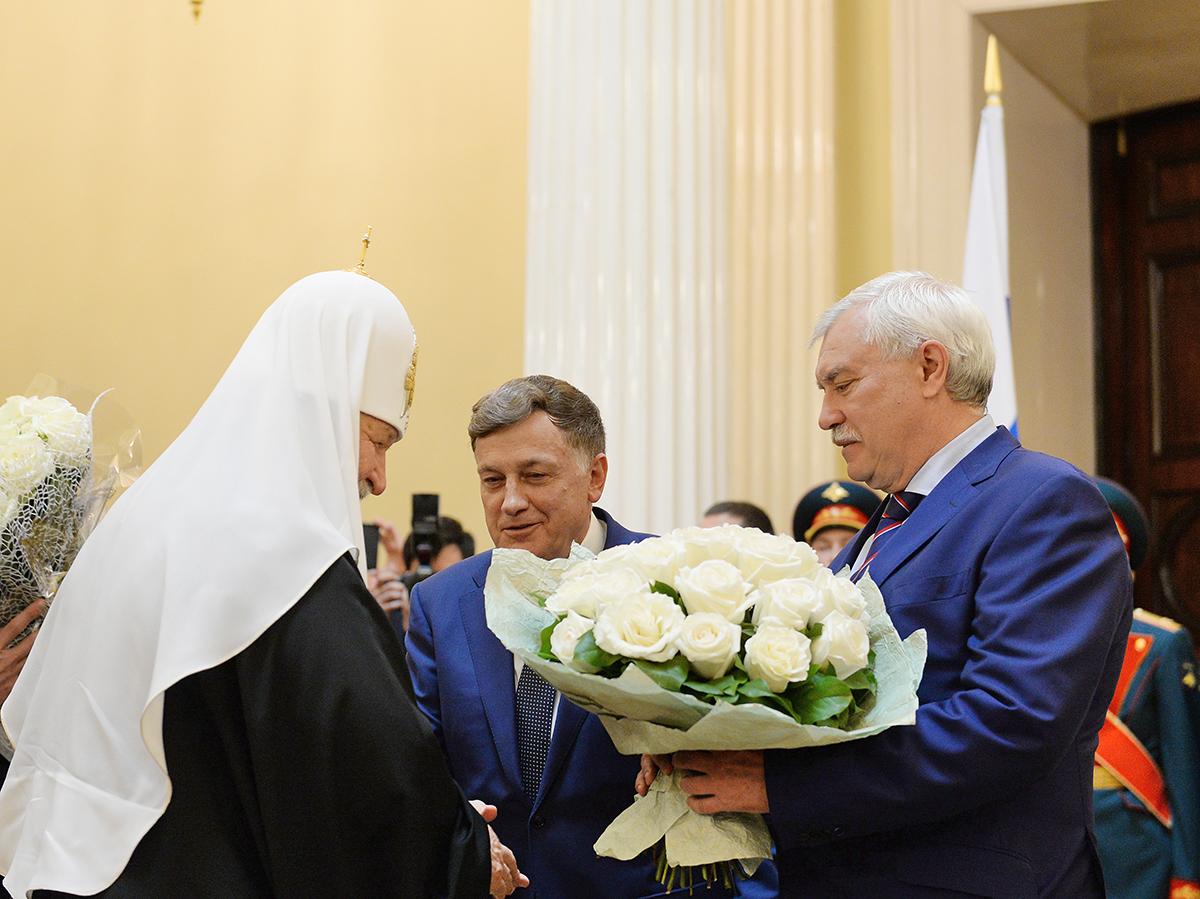 Вручение Святейшему Патриарху Кириллу знака почетного гражданина Санкт-Петербурга