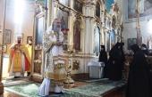 В праздник Рождества Иоанна Предтечи председатель Синодального отдела по монастырям и монашеству совершил Литургию в Пюхтицком ставропигиальном монастыре