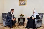 Святейший Патриарх Кирилл встретился с временно исполняющим обязанности губернатора Новгородской области А.С. Никитиным