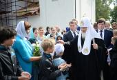 Визит Святейшего Патриарха Кирилла в Выборгскую епархию начался с посещения Никольского храма в поселке Рощино