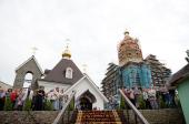 Святейший Патриарх Кирилл посетил строящийся Успенский храм Выборга