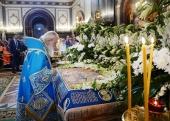 В канун праздника Успения Пресвятой Богородицы Святейший Патриарх Кирилл совершил всенощное бдение в Храме Христа Спасителя в Москве