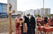 Митрополит Астанайский и Казахстанский Александр освятил крест на месте строительства храма преподобного Пимена Угрешского в Оренбурге