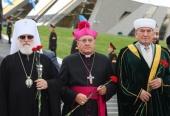 Патриарший экзарх всея Беларуси принял участие в митинге «Вместе на благо мира» в Минске