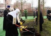 Святіший Патріарх Кирил взяв участь в посадці дерев головної липової алеї Донського монастиря