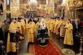 В день памяти святителя Петра Московского Святейший Патриарх Кирилл совершил Литургию в Успенском соборе Кремля