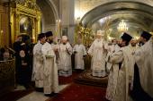Патриаршее служение в канун праздника Крещения Господня в Богоявленском кафедральном соборе г. Москвы