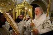 В канун праздника Крещения Господня Святейший Патриарх Кирилл совершил всенощное бдение в Богоявленском кафедральном соборе в Елохове