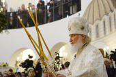 Предстоятель Русской Церкви освятил московский храм иконы Божией Матери «Воспитание» в Некрасовке