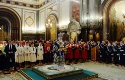 В праздник Сретения Господня Святейший Патриарх Кирилл совершил Литургию в Храме Христа Спасителя в Москве