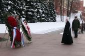В День защитника Отечества Патриарший наместник Московской епархии возложил венок к могиле Неизвестного солдата у Кремлевской стены
