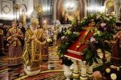 В канун Крестопоклонной Недели Святейший Патриарх Кирилл совершил всенощное бдение в Храме Христа Спасителя в Москве