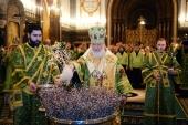 В канун праздника Входа Господня в Иерусалим Святейший Патриарх Кирилл совершил всенощное бдение в Храме Христа Спасителя
