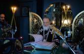 Патриаршее служение в канун среды Страстной седмицы в Алексеевском ставропигиальном монастыре г. Москвы
