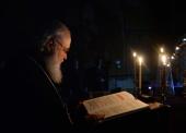 В канун четверга Страстной седмицы Святейший Патриарх Кирилл принял участие в вечернем богослужении в Заиконоспасском ставропигиальном монастыре