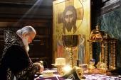 В четверг Страстной седмицы Святейший Патриарх Кирилл совершил Литургию в Храме Христа Спасителя в Москве