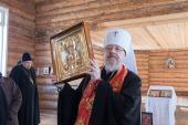 Подаренная Святейшим Патриархом Кириллом икона свт. Николая передана в Никольский храм красноярской деревни Новоникольск