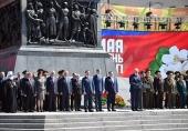 Патриарший экзарх всея Беларуси принял участие в церемонии возложения венков к монументу Победы в Минске