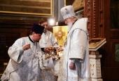 В праздник Вознесения Господня Предстоятель Русской Церкви совершил Литургию в Храме Христа Спасителя в Москве