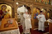 В неделю 7-ю по Пасхе Святейший Патриарх Кирилл совершил Литургию на московском подворье Русского на Афоне Пантелеимонова монастыря