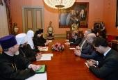 Состоялась встреча Предстоятеля Русской Православной Церкви с министром иностранных дел Греции Н. Кодзиасом