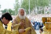 Святейший Патриарх Кирилл совершил Литургию на площади кафедрального собора в Череповце