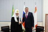 Святейший Патриарх Кирилл встретился с губернатором Вологодской области О.А. Кувшинниковым