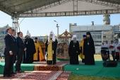 Предстоятель Русской Церкви совершил закладку Екатерининского храма на территории АО «Апатит» в Череповце
