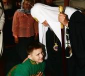 Святейший Патриарх Кирилл встретился с мальчинком-инвалидом Сашей из г. Вязники Владимирской области