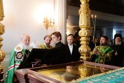 В день памяти преподобных Сергия и Германа Валаамских Святейший Патриарх Кирилл совершил Литургию в Валаамском монастыре