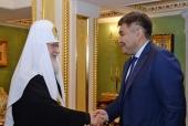 Состоялась встреча Святейшего Патриарха Кирилла с министром общественного развития Казахстана Д.А. Калетаевым