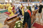 В День ВМФ России в Морском соборе Кронштадта молились перед принесенными из Санаксарского монастыря мощами праведного воина Феодора Ушакова