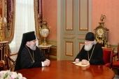 Святейший Патриарх Кирилл принял архиепископа Гаагского Елисея и епископа Наро-Фоминского Иоанна