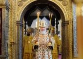 В праздник Собора Московских святых Святейший Патриарх Кирилл совершил Литургию в Успенском соборе Московского Кремля