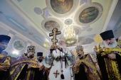 В канун праздника Воздвижения Креста Господня Святейший Патриарх Кирилл совершил утреню всенощного бдения в Никольском кафедральном соборе Ейска