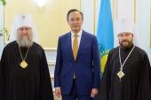 Состоялась встреча митрополита Волоколамского Илариона и митрополита Астанайского и Казахстанского Александра с министром иностранных дел Казахстана