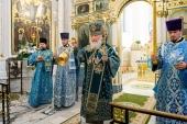 В канун праздника Покрова Пресвятой Богородицы Святейший Патриарх Кирилл совершил утреню всенощного бдения в Свято-Духовом соборе Минска