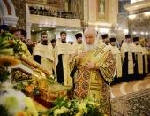 Святейший Патриарх Кирилл совершил утреню всенощного бдения в кафедральном соборе Христа Спасителя в Калининграде