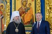 В праздник Рождества Христова Президент Республики Казахстан Н.А. Назарбаев посетил Успенский кафедральный собор Астаны