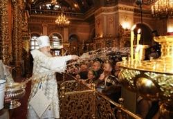 В праздник Крещения Господня Предстоятель Русской Церкви совершил Литургию и чин великого освящения воды в Богоявленском кафедральном соборе в Москве