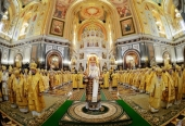 В день открытия Международных Рождественских чтений Святейший Патриарх Кирилл совершил Литургию в Храме Христа Спасителя в Москве