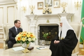 Председатель Правительства РФ Д.А. Медведев поздравил Святейшего Патриарха Кирилла с десятой годовщиной интронизации