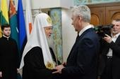 Поздравление мэра Москвы С.С. Собянина Святейшему Патриарху Кириллу с 10-летием интронизации